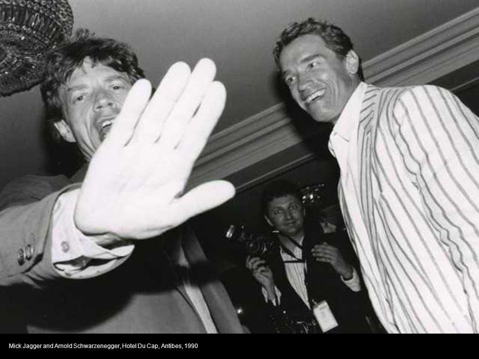 Mick Jagger and Arnold Schwarzenegger, Hotel Du Cap, Antibes, 1990