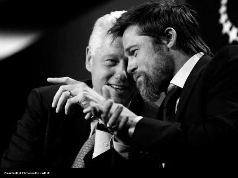 President Bill Clinton with Brad Pitt