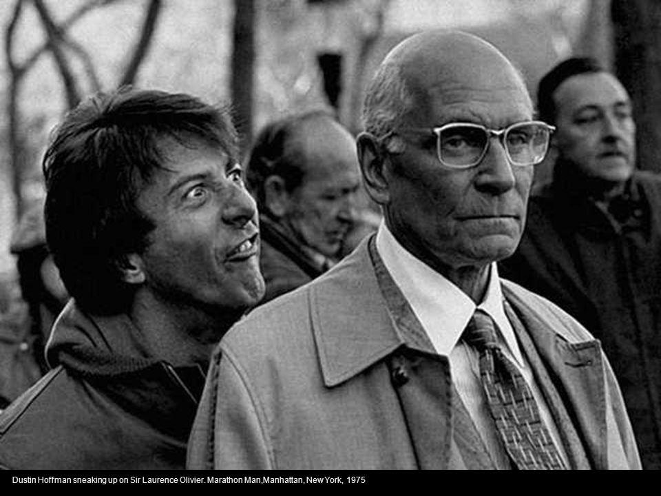 Dustin Hoffman sneaking up on Sir Laurence Olivier