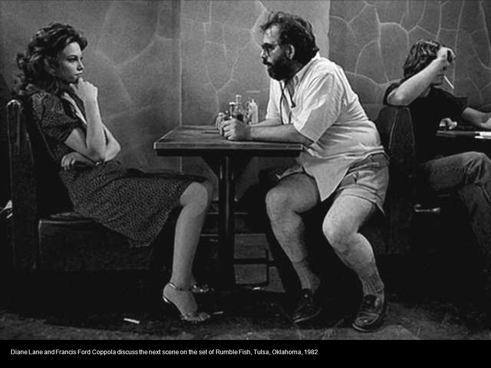 Diane Lane and Francis Ford Coppola discuss the next scene on the set of Rumble Fish, Tulsa, Oklahoma, 1982