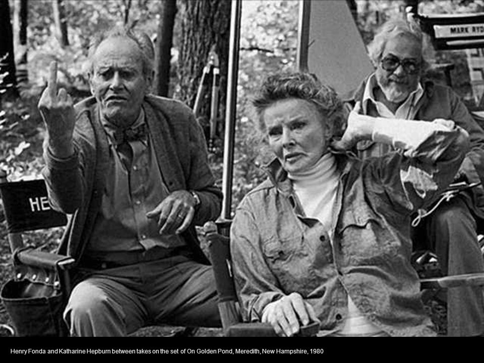 Henry Fonda and Katharine Hepburn between takes on the set of On Golden Pond, Meredith, New Hampshire, 1980