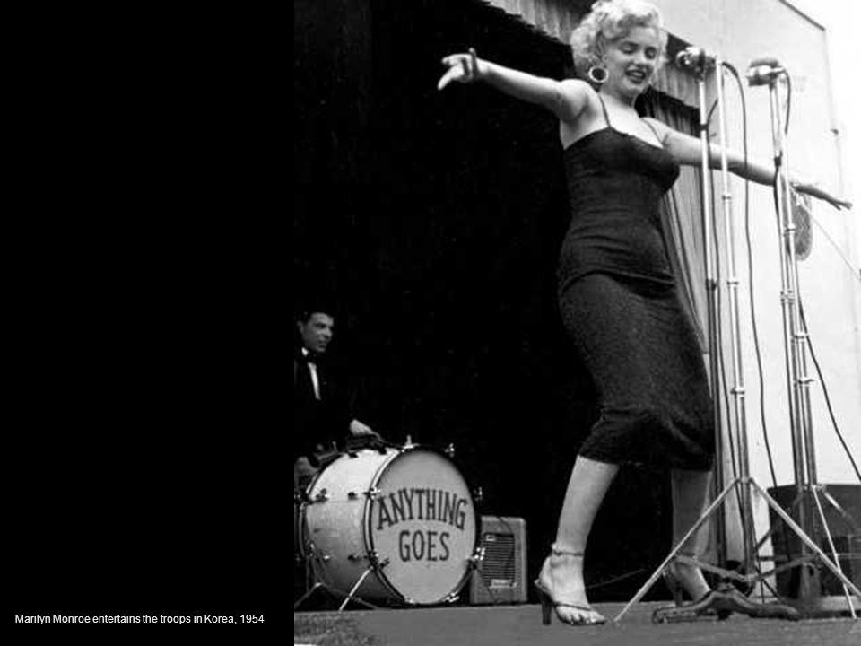 Marilyn Monroe entertains the troops in Korea, 1954