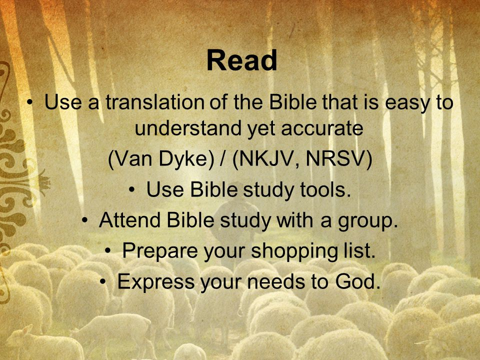Read Use a translation of the Bible that is easy to understand yet accurate. (Van Dyke) / (NKJV, NRSV)