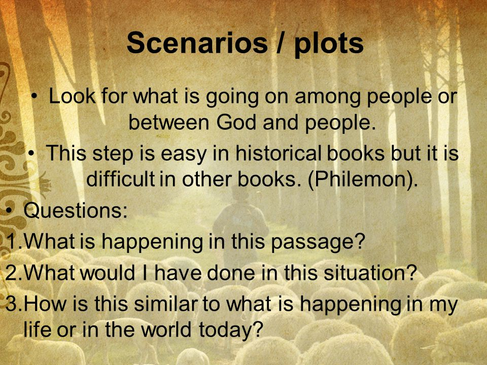 Look for what is going on among people or between God and people.