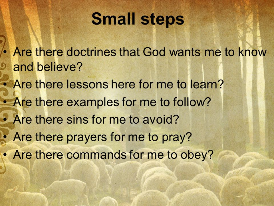 Small steps Are there doctrines that God wants me to know and believe