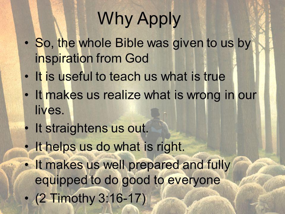 Why Apply So, the whole Bible was given to us by inspiration from God