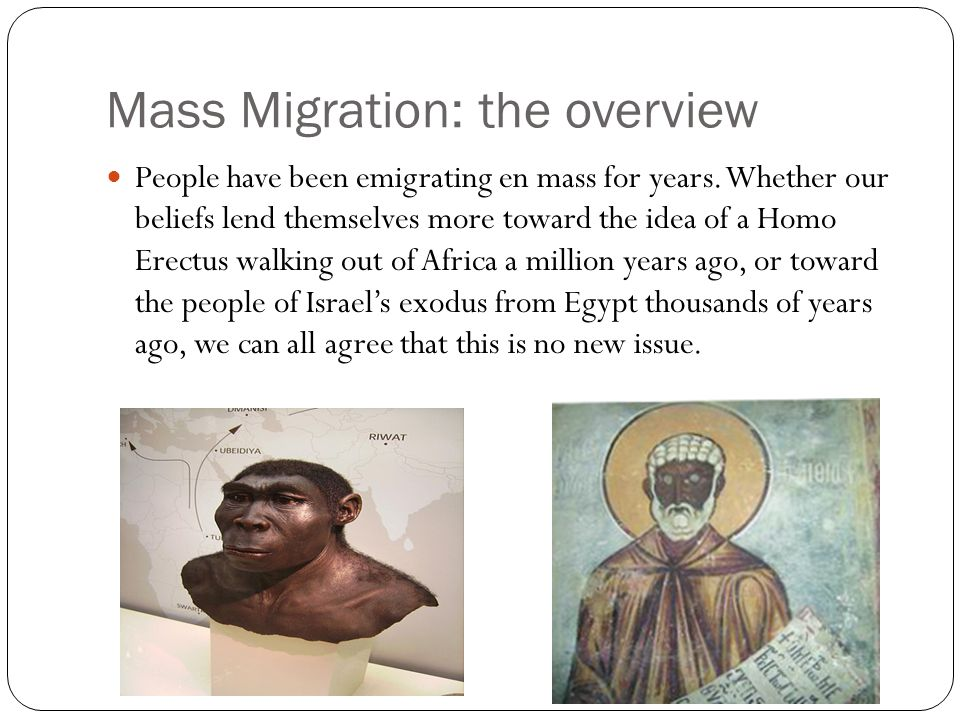 Mass Migration: the overview