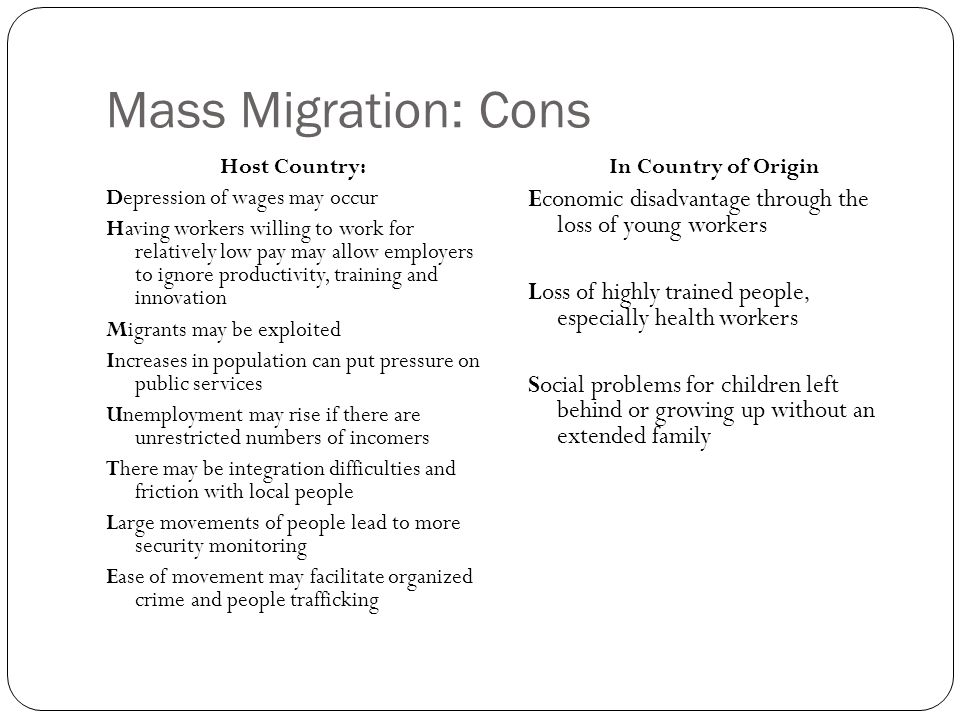 Mass Migration: Cons