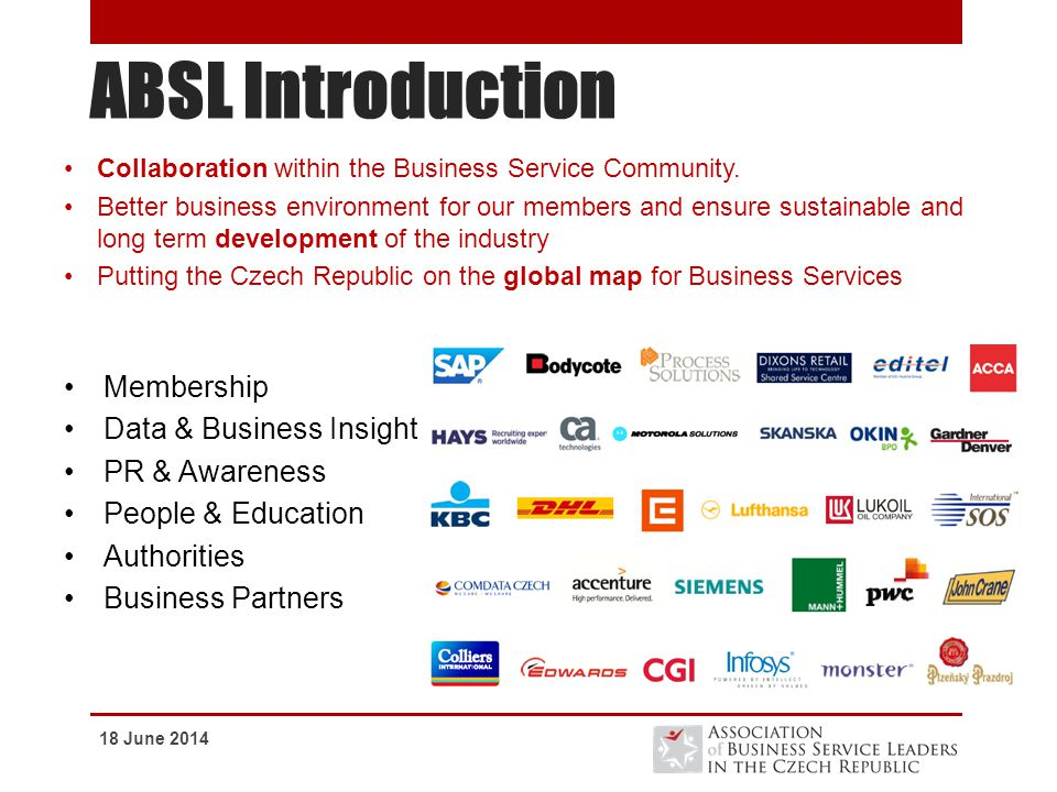 ABSL Introduction Membership Data & Business Insight PR & Awareness