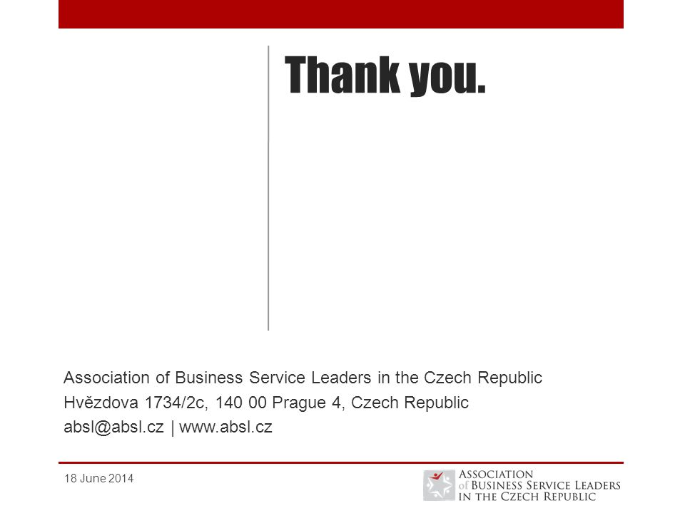 Thank you. Association of Business Service Leaders in the Czech Republic. Hvězdova 1734/2c, Prague 4, Czech Republic.