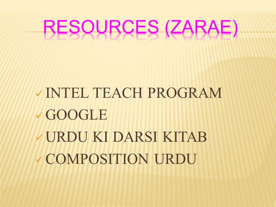 RESOURCES (ZARAE) INTEL TEACH PROGRAM GOOGLE URDU KI DARSI KITAB