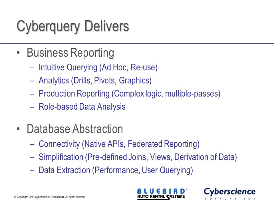 Cyberquery Delivers Business Reporting Database Abstraction