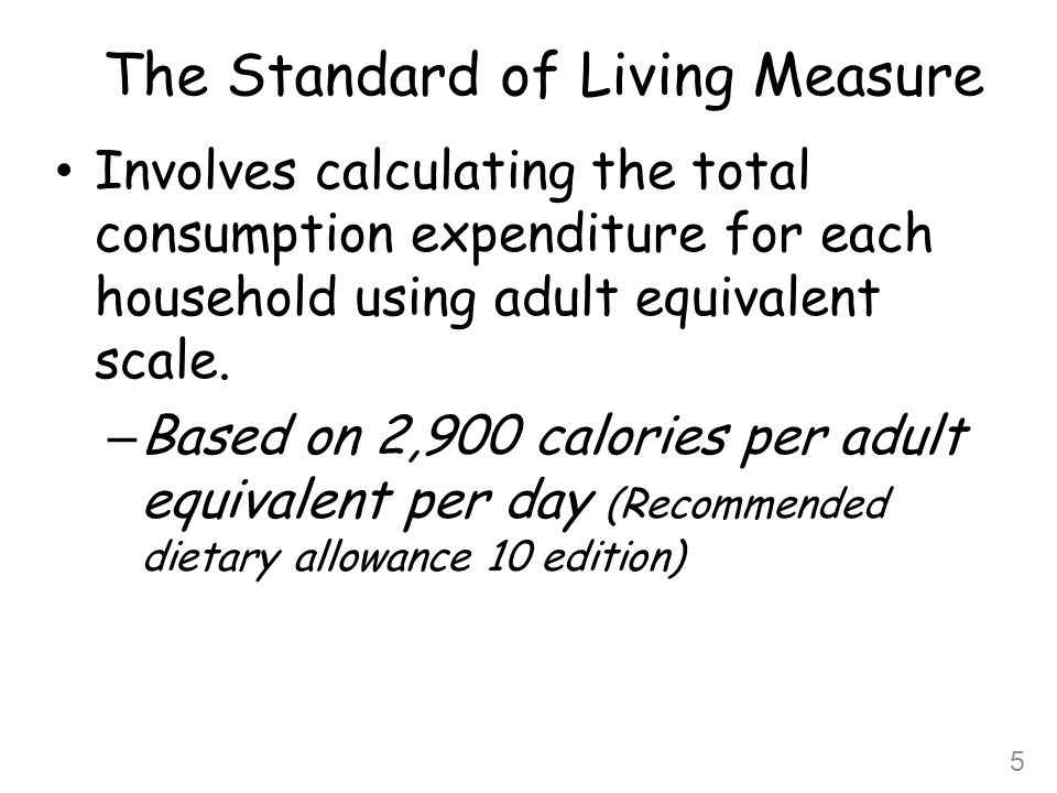 The Standard of Living Measure