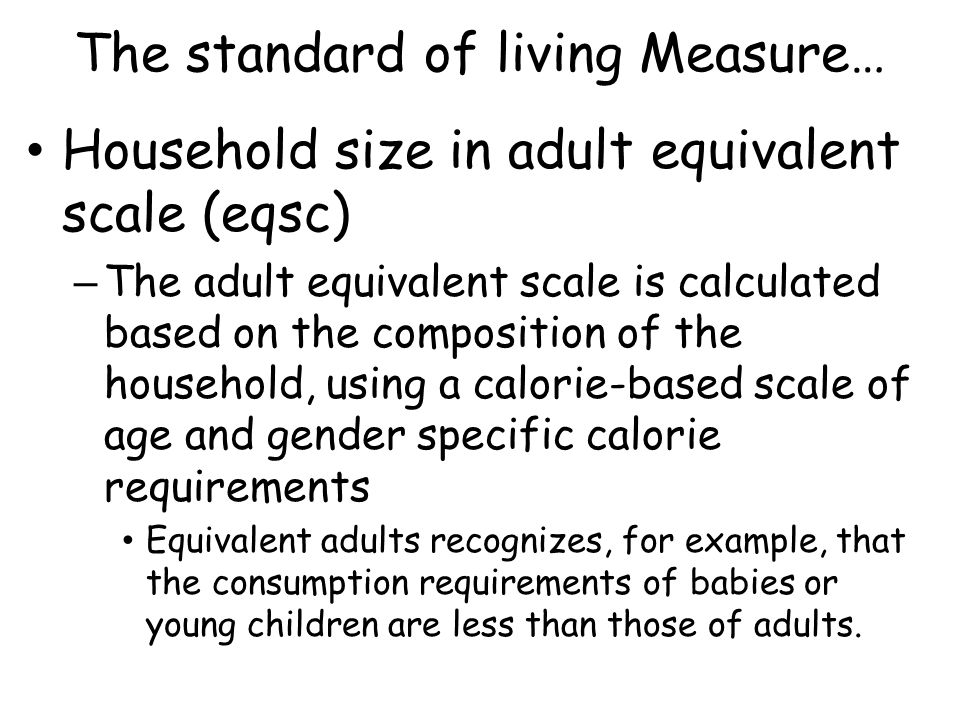 The standard of living Measure…