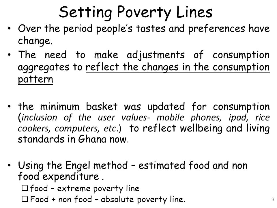 Setting Poverty Lines Over the period people's tastes and preferences have change.