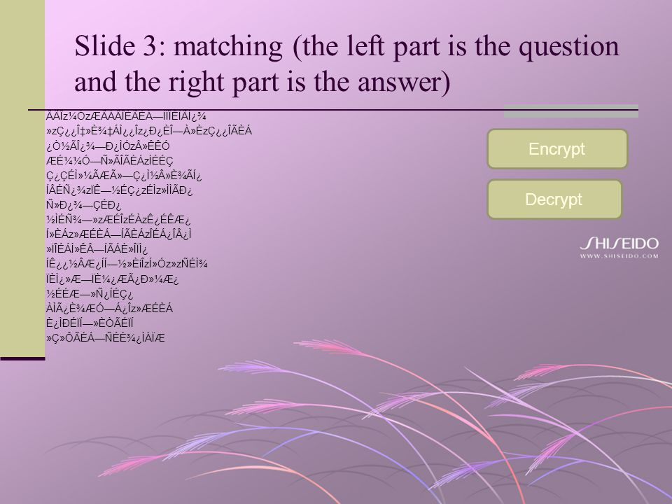 Slide 3: matching (the left part is the question and the right part is the answer)