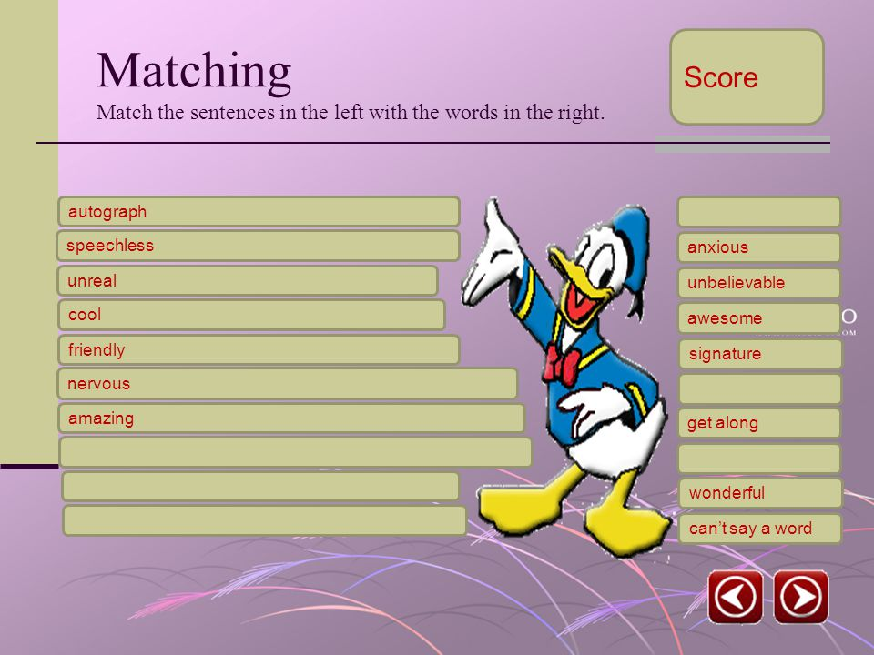 Matching Match the sentences in the left with the words in the right.