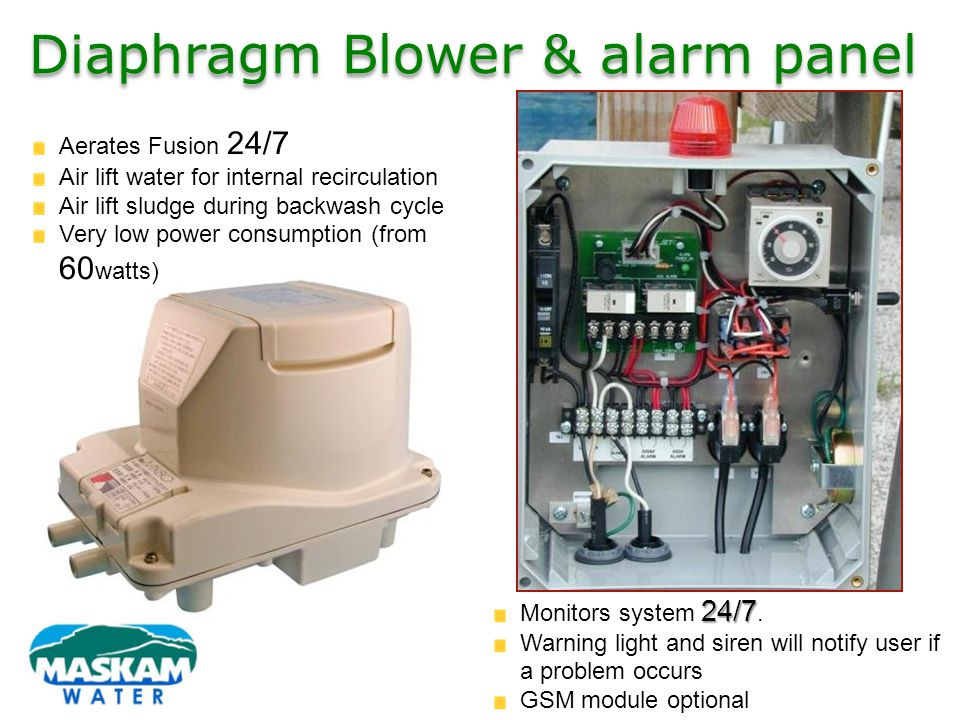 Diaphragm Blower & alarm panel