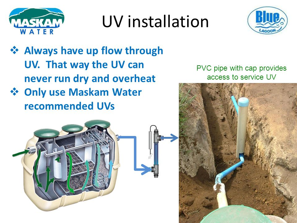PVC pipe with cap provides access to service UV