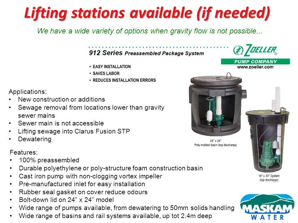 Lifting stations available (if needed)