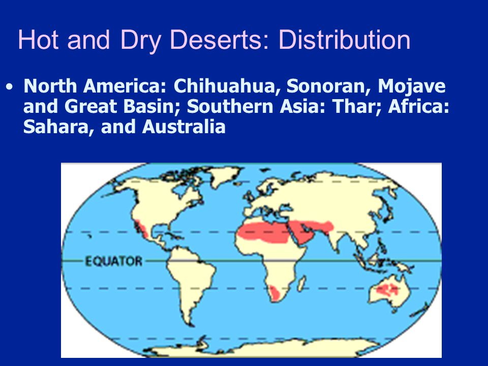 Hot and Dry Deserts: Distribution