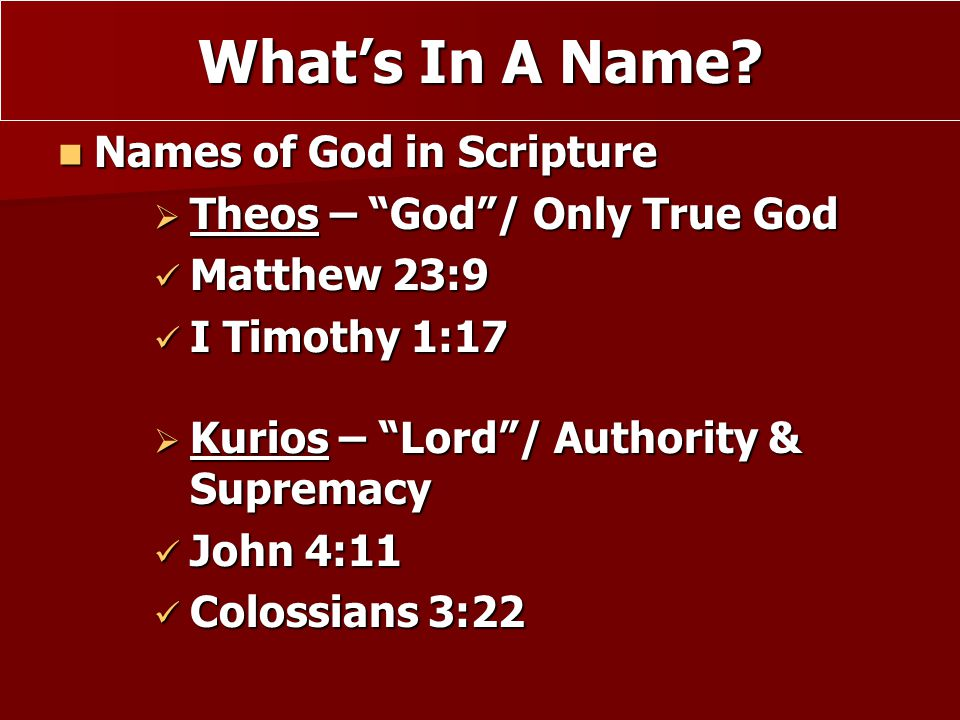 What's In A Name Names of God in Scripture