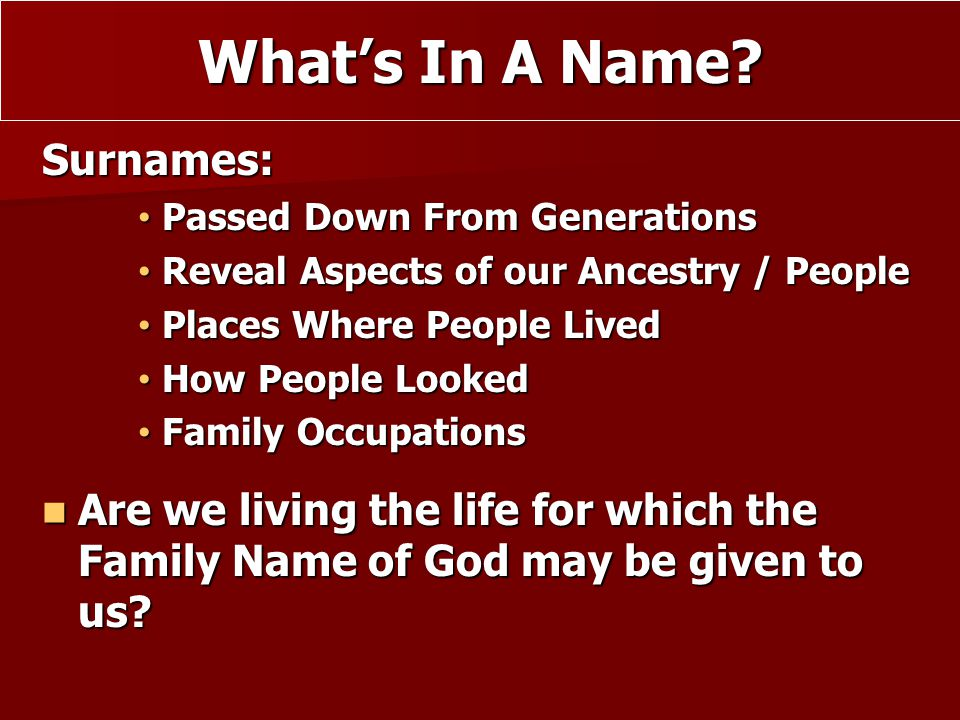 What's In A Name Surnames: