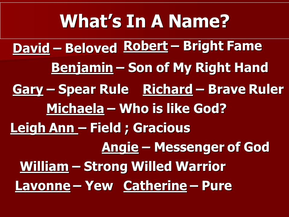 What's In A Name Robert – Bright Fame David – Beloved