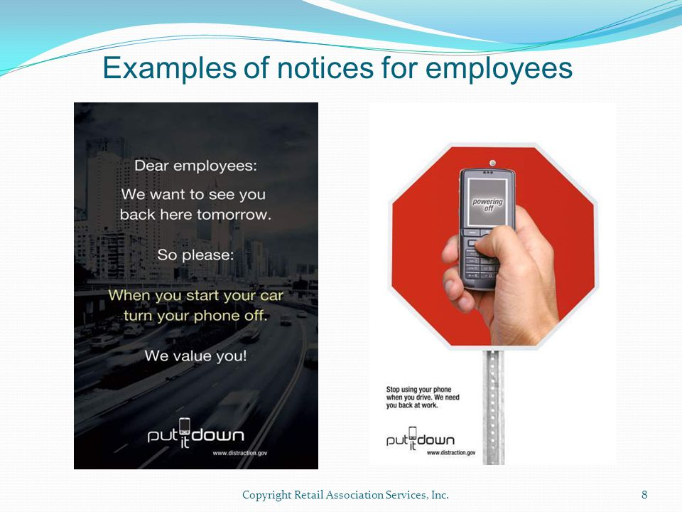 Examples of notices for employees