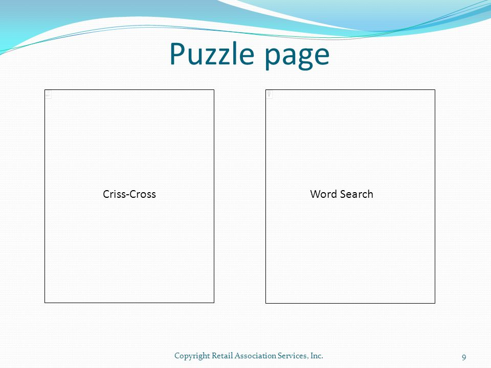 Puzzle page Criss-Cross Word Search