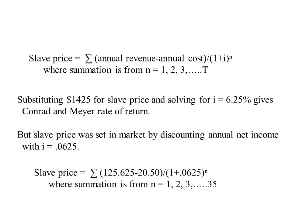 Slave price = ∑ (annual revenue-annual cost)/(1+i)ⁿ