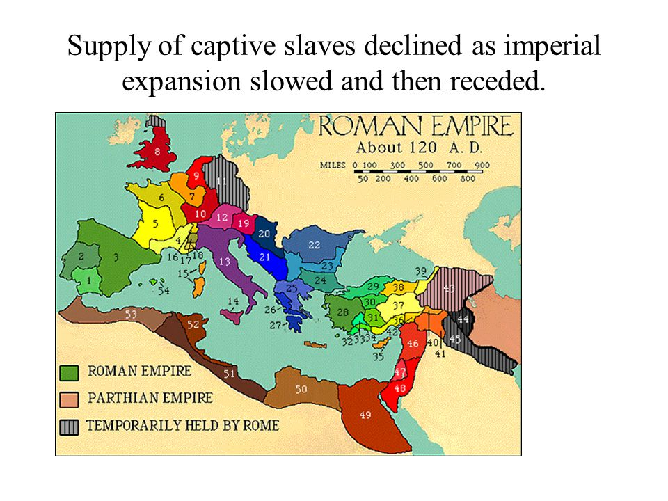 Supply of captive slaves declined as imperial expansion slowed and then receded.