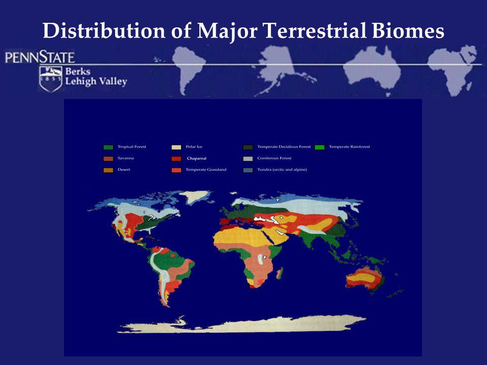 Distribution of Major Terrestrial Biomes