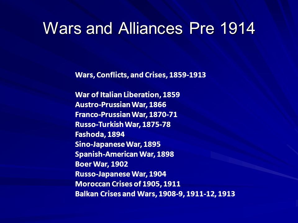 Wars and Alliances Pre 1914 Wars, Conflicts, and Crises, 1859-1913
