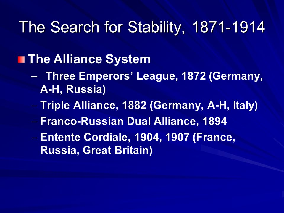 The Search for Stability, 1871-1914
