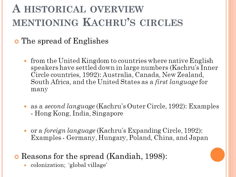 A historical overview mentioning Kachru's circles