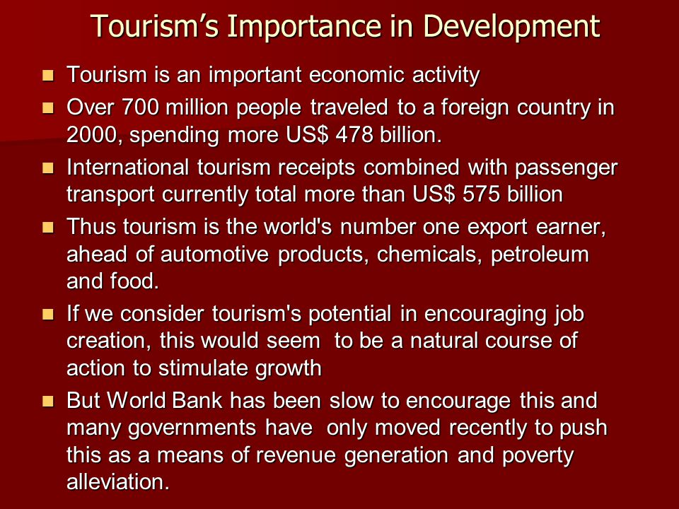 Tourism's Importance in Development