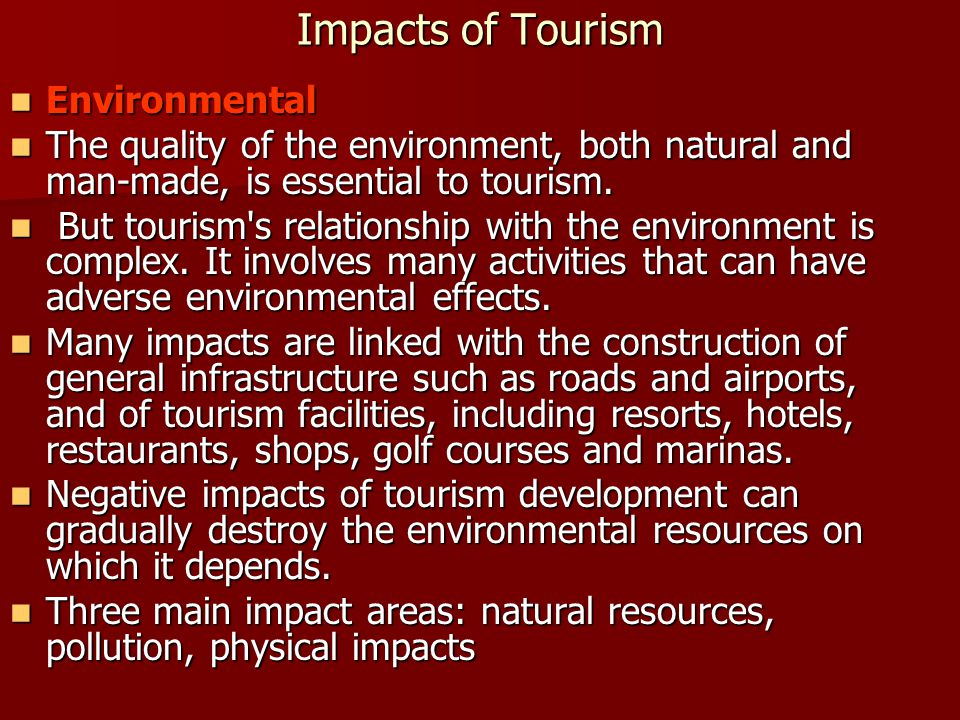 Impacts of Tourism Environmental