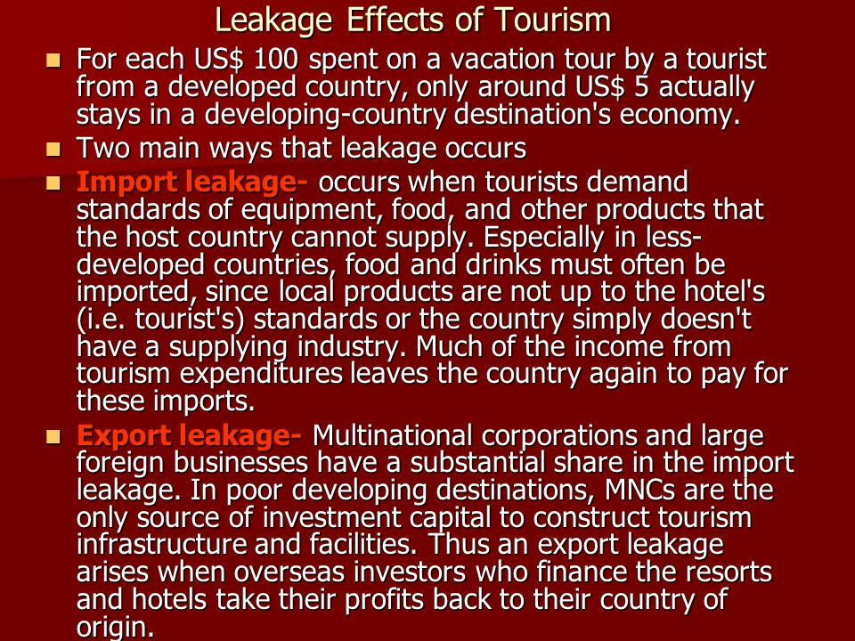 Leakage Effects of Tourism