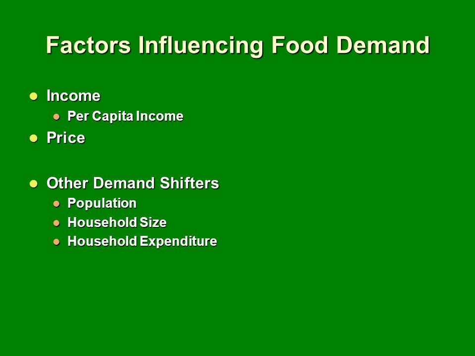 Factors Influencing Food Demand