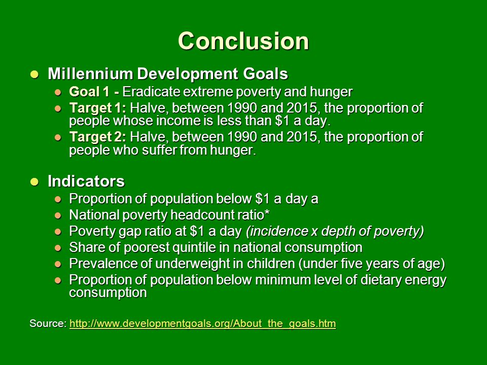 Conclusion Millennium Development Goals Indicators