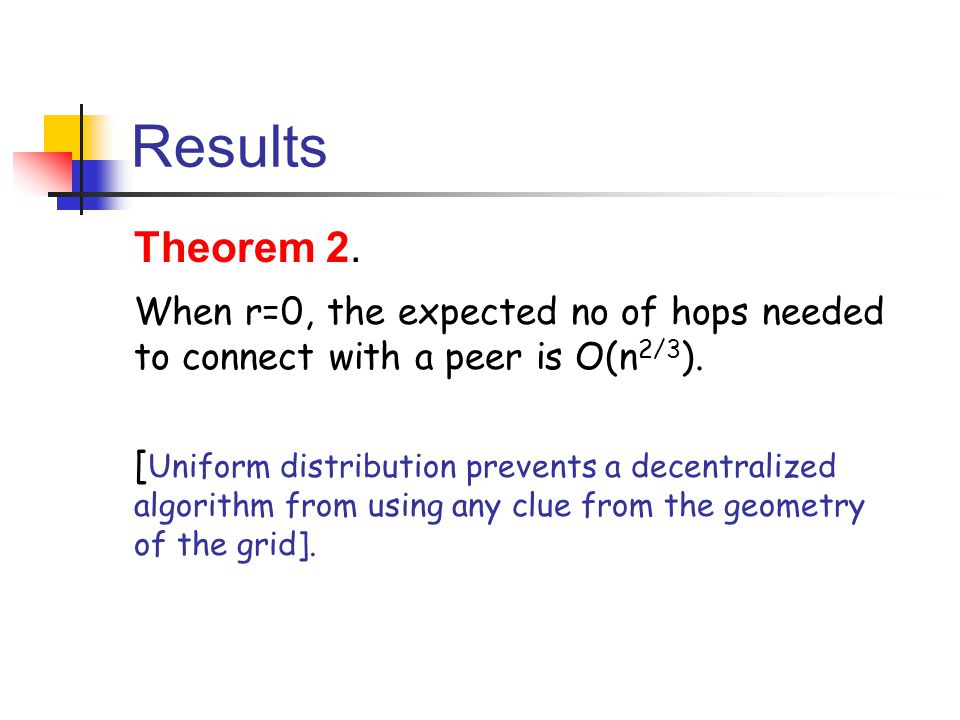 Results Theorem 2. When r=0, the expected no of hops needed to connect with a peer is O(n2/3).