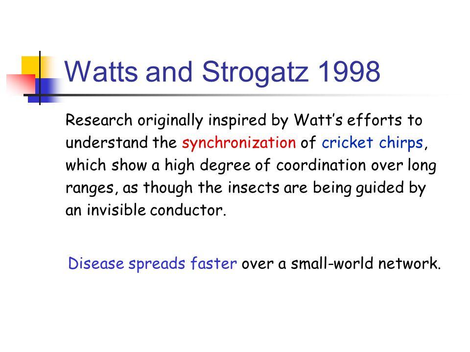 Watts and Strogatz 1998