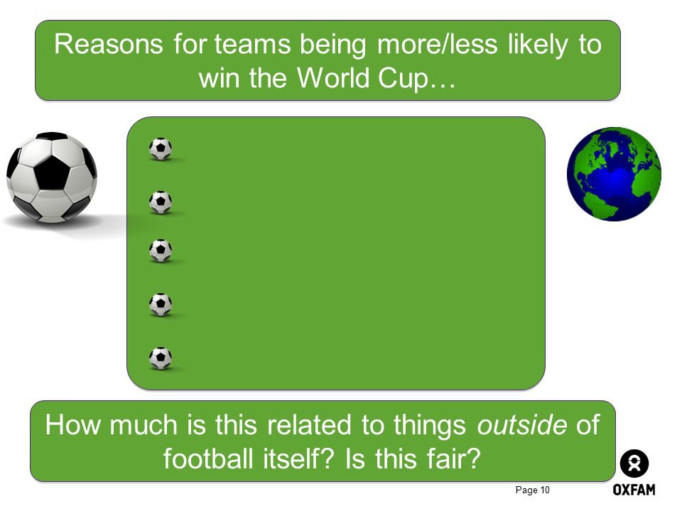 Reasons for teams being more/less likely to win the World Cup…