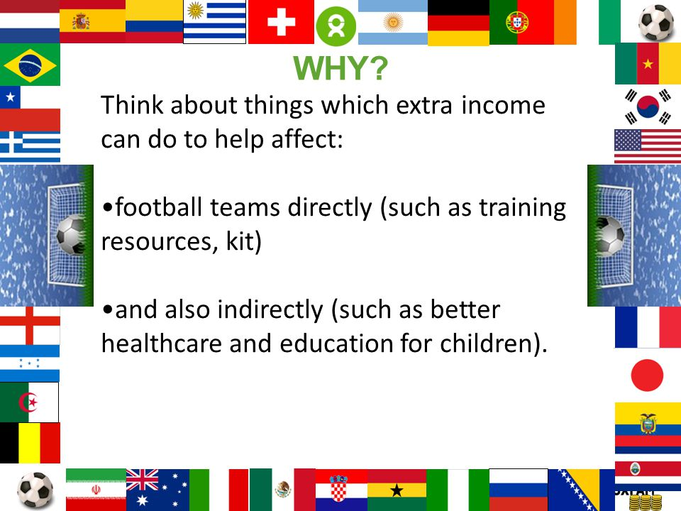 WHY Think about things which extra income can do to help affect: