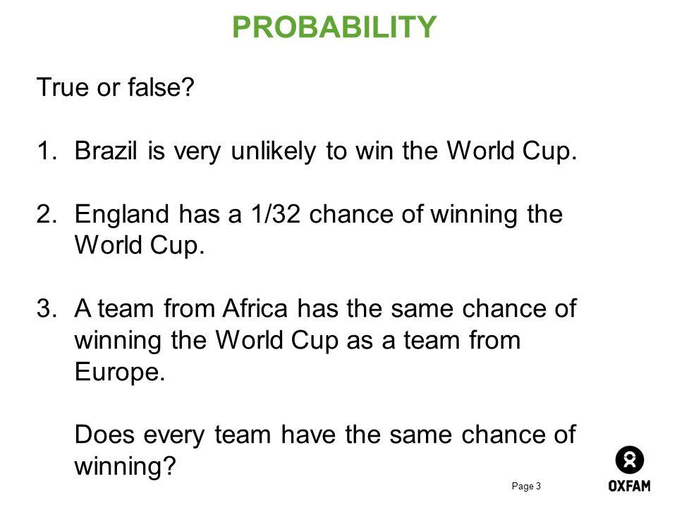 PROBABILITY True or false