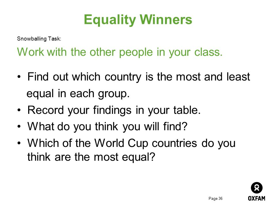 Equality Winners Work with the other people in your class.
