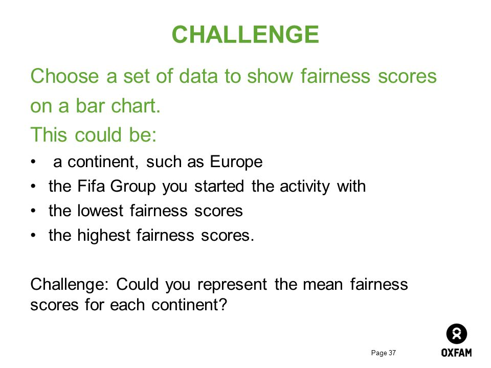 CHALLENGE Choose a set of data to show fairness scores on a bar chart.