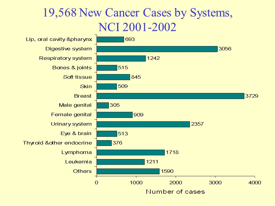 19,568 New Cancer Cases by Systems, NCI 2001-2002