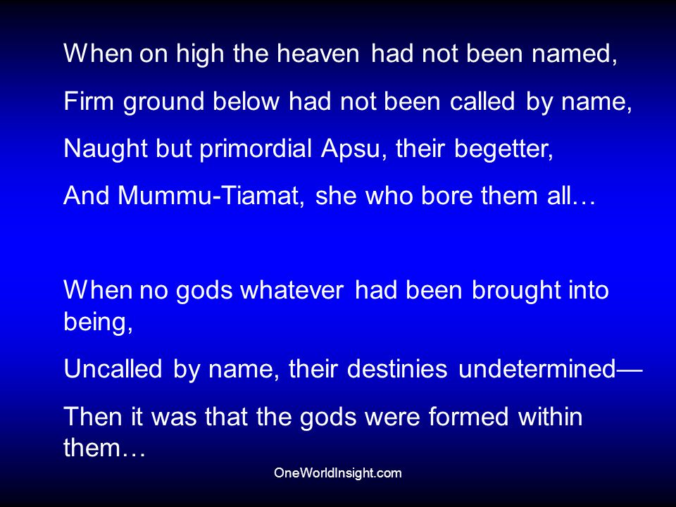 When on high the heaven had not been named,